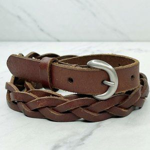 American Eagle Brown Skinny Braided Woven Belt